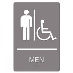 Headline Sign ADA Sign Men Restroom Wheelchair Accessible Symbol Molded Plastic 6 x 9 Gray