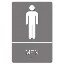 ADA Sign Men Restroom Symbol Tactile Graphic Molded Plastic 6 x 9 Gray