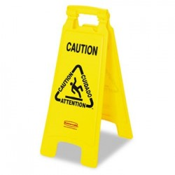 Rubbermaid Commercial Multilingual Caution Floor Sign Plastic 11 x 1 1/2 x 26 Bright Yellow