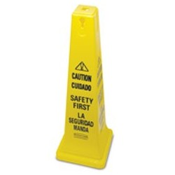 Rubbermaid Commercial Four-Sided Caution Wet Floor Yellow Safety Cone