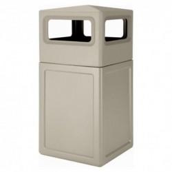 38-Gallon Square Trash Bin with Dome Lid (Beige)