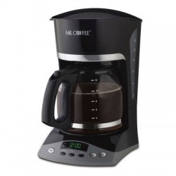 12 Cup Coffe Maker Prormmable 2-hr auto-off Pause n Serve Removable filter Cord Storage Black