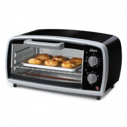 Oster 4-slice Toaster Oven includes Toast Bake and Broil Functions includes baking pan 1Yr Warranty Black with Silver Accen