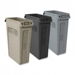 RUBBERMAID SLIM JIM WASTE CONTAINER RECTANGULAR PLASTIC 23 GAL GRAY